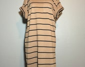 Vintage 90's Minimalist Neutral Striped Tee Tunic Mini Dress T-Shirt Pocket S