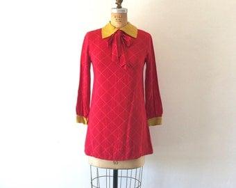 Mod Dress 1960s Vintage Red Yellow Ascot Tie Collar Checkered Mini Dress XS