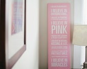 "Audrey Hepburn ""I Believe in Pink"" Quote Pink Canvas - 12x36in"
