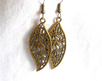 Antiqued Bronzed Filigree Leaf Earrings - Surgical Steel French Hooks
