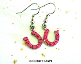 Pink Horse Shoe Earrings