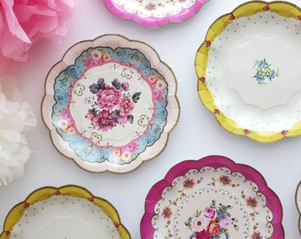 Sale 12 FLORAL TEA PARTY Mini Paper Plates Parisian Vintage Style Shabby Chic Garden Tea Time Mint Green Pink Yellow Blue Rose French Paris