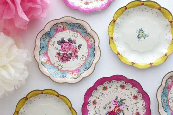 Sale 12 FLORAL TEA PARTY Mini Paper Plates Parisian Vintage Style Shabby Chic Garden Tea Time Mint Green Pink Yellow Blue Rose French Paris : vintage style tableware - pezcame.com