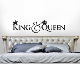 King And Queen Crown Wall Decor king and queen bedroom decor romantic bedroom decal gold