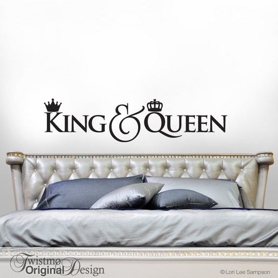 King And Queen Crown Decor Bedroom Decor Wall Decal Gift For Couple Headboard