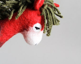 Roberta - Felt Donkey. Art Toy. Mothers Day Gift, Felted toy, Felt Animals, Soft toy, Puppet.  red  green. READY TO SHIP