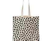 Polka dot all over / Screen printed cotton tote bag