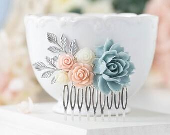 Powder Blue Dusty Blue Blush Pink Ivory Wedding Hair Comb, Silver Bridal Hair Comb, Floral Leaf Branch Country Wedding Barn Wedding Comb