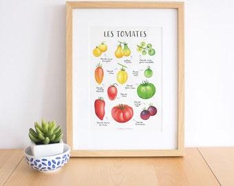 Red and yellow kitchen print, vegetable print, vegetable food print, Vegetable poster, vegetable art print,  tomato print, tomato chart
