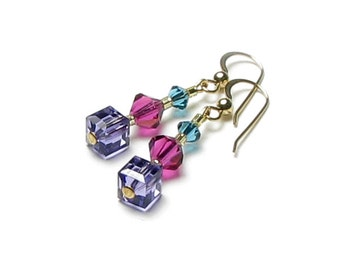 Vineyard Purple Tanzanite Fuchsia Teal Turquoise Swarovski Crystal Earrings, Fall Jewelry, Autumn Wine Country Grapes Nature Inspired Gifts