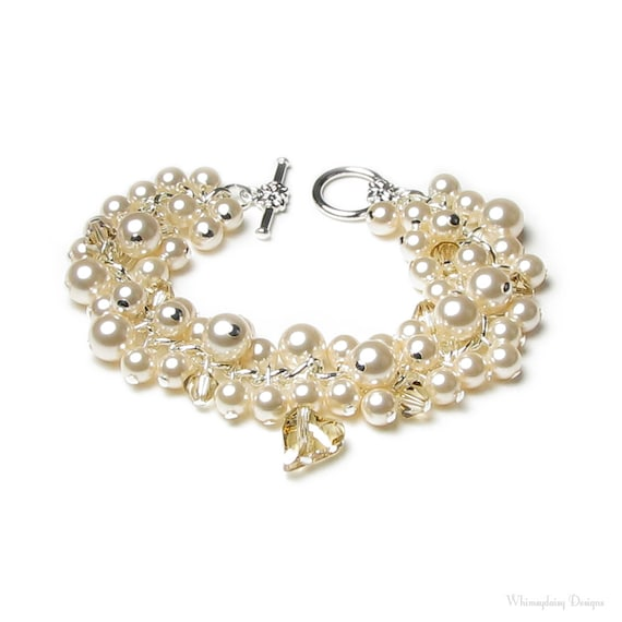 Cream Chiffon Swarovski Crystal And Pearl Cluster Silver Charm Bracelet, Ivory Bridal Wedding Jewelry, Mother of the Bride, Gift For Women