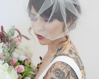 Ivory Birdcage Veil, Crystal comb cage Veil, Wedding Veil, Rhinestone Comb Birdcage, Blusher Veil, Tulle Veil, Bridal Veil - Quick Shipper