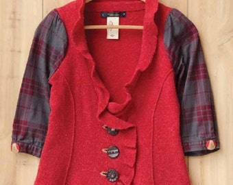 Red Cardigan-Plaid Refashioned Cardigan-Vintage Wood Buttons-Altered Couture Magazine-Upcycled Gypsy Clothing -Size Small