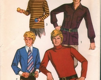 Uncut Vintage 1970s Simplicity 9528 Teen Boys Set of Shirts and Turtleneck Sewing Pattern Sz 18 Chest 35