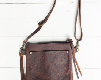 Brown leather crossbody bag, brown leather purse, crossbody purse, leather shoulder bag, everyday bag, leather purse