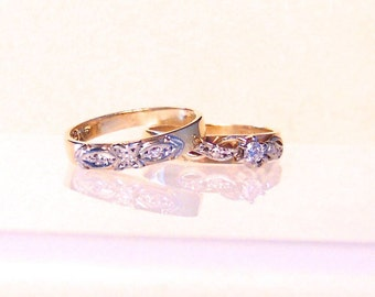 Vintage Diamond Engagement Wedding Ring Set, 9K, Yellow Gold, Free Shipping, Pinky Rings