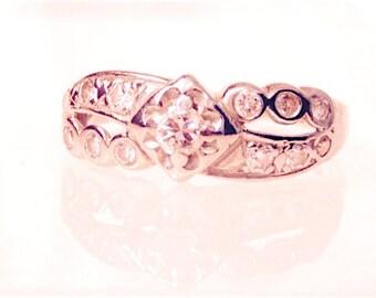 Vintage 14K Diamond Wedding Anniversary Ring, .45 Carats, White Gold