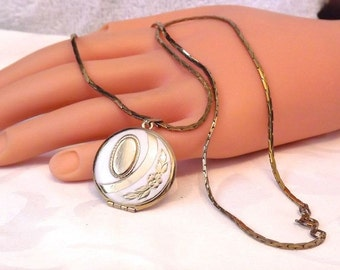 Vintage Gold Filled Enamel Round Locket Necklace, 22 Inch Chain, Free Shipping