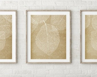 Leaf Print Wall Art - Set of Three Prints - Tan Khaki Gold