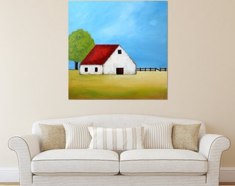 Barn Painting - Farm Painting, Landscape painting, White Barn , Farmhouse Art, Contemporary Barn, Abstract landscape painting