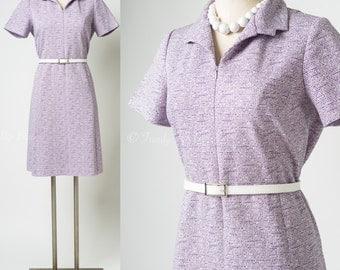 Vintage Purple Dress, Mad Men Dress, 60s Dress, Vintage Shift Dress, 60s Knit Dress - S/M