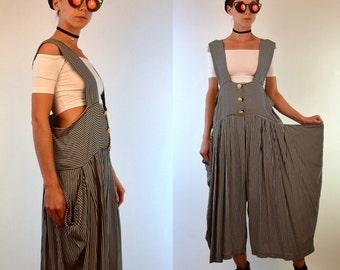 Vintage 80s Avant Garde Palazzo Overalls + Nehru Tunic Jacket. Draped Blue Cream Stripe Romper Jumpsuit. Retro Couture. Small