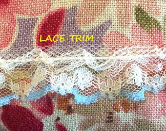 2 YARDS, WHITE Blue 7/8 Inch, Ruffle Lace Sewing Trim, Flowers, Scalloped Edge, L273