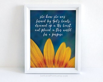 She Knew She Was Formed by God's Hands - Confirmation Gift Idea - 8x10 Christian Print