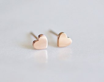 4mm Heart Stud Earrings, minimalist earrings,tiny heart studs, rose gold,birthday gift for her,valentine's day gift,titanium,stainless steel