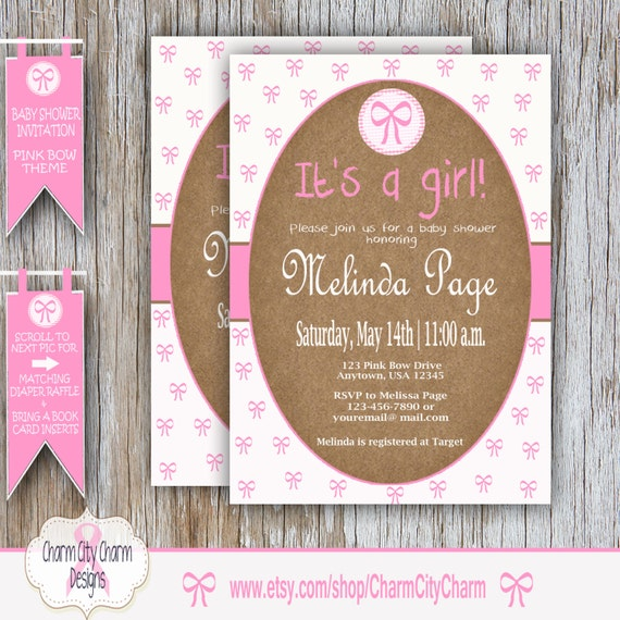 Pink Bows Baby Shower Invitation Baby Girl Shower Invitation