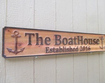Custom Outdoor Sign Cedar Outdoor Name Sign Personalized Boat House Established Sign Custom Carved Nautical Anchor Signs 50th Anniversary 3D
