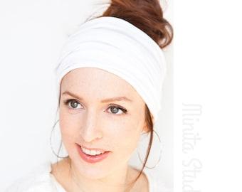 Extra Wide White Headband Wide Headband Hairwrap Yoga Workout Pilates Beachy Look Boho Head wrap Turban Cottage Chic Shabby Chic Etsy Finds