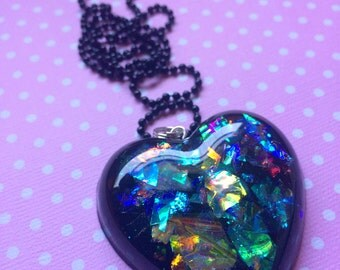 Black Heart Pendant / Gothic Resin Necklace / Creepy Cute / Alternative Gothic Jewelry / Iridescent Pendant / Beautiful Heart Pendant