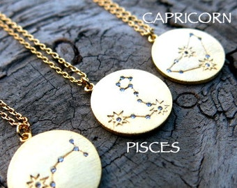 Zodiac Necklace, Gold plated Necklace, Astrology Necklace,Dainty Necklace, Simple Necklace, Birthday Necklace, Constellation Necklace