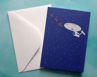 Star Trek Holiday Card Enterprise Santa Sleigh Star Trek Inspired Christmas Winter Holiday Card McCoy Kirk Spock Trek Art Geek Greeting Card