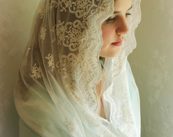 Evintage Veils~ Child's Our Lady of Angels** Vintage Inspired Lace Chapel Veil Mantilla Infinity Veil