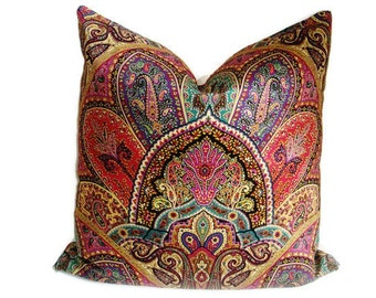 """Set Of Two-Designer Fabric Pillow Cover-Modern Geometric Paisley - Throw Pillow Cover-Accent Pillow Cover-18""""x18"""""""