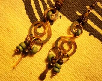 Earthy Copper Earrings-Rustic Bohemian Earrings-Wire Artisan Earrings-Patina Earrings-Boho Jewelry