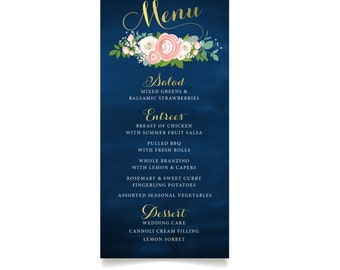 The JENNY . Menu Card . Gold Calligraphy & Navy Chalkboard White Rose Blush Ranunculus Pink Peony Dusty Miller Berries Winter . PRINTED