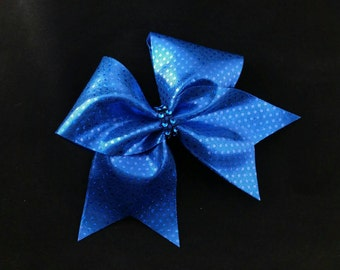 Blue cheer bow, Cheer bows, sequin cheer bow, cheerleading bow, cheerleader bow, softball bow, cheer bow, dance bow, Cheerbows, large bow