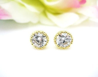 Gold Cubic Zirconia Stud Earrings 8mm Cubic Zirconia Stud Earrings Wedding Jewelry Bridesmaids Gift Rose Gold Earrings (E093)