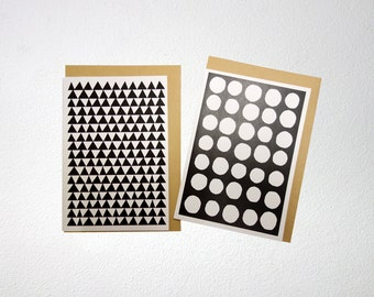 Greeting card, black&white, A6, folded, blank inside, with envelope. You can choose from 2 different cards.