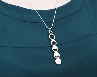 Moon Phase Necklace 3D Printed, Moon Jewelry, Space Necklace, Moon Phase Jewelry, Moon Phase Gift, Science Jewelry, Moon Phase Pendant