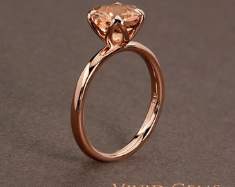 Peach Pink Morganite Rose Gold Ring,  2 carat Cushion Cut Morganite Tulip Solitaire Ring, Promise Ring