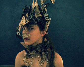 Love and Loss - Dramatic Butterfly Headdress from Antique Bridal and Mourning Lace and Leather