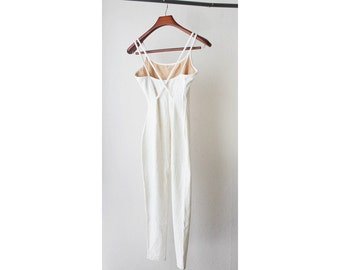 1990's Off White Legging Fitted Jumpsuit
