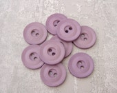 Lavender Purple Vintage Buttons 18mm - 5/8 inch Pastel Purple Plastic Buttons with Recessed Sewing Holes - 9 VTG Matte Purple Buttons PL404