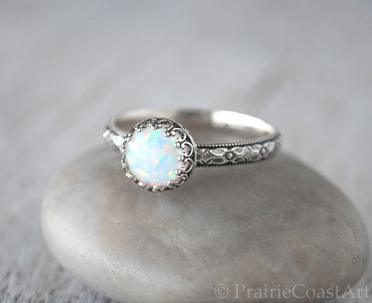 opal ring sterling silver handcrafted artisan silver ring