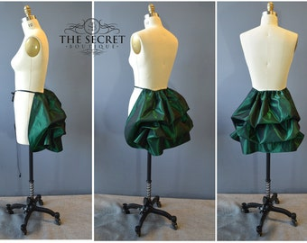 mini bustle-green bustle-vampire-green bustle skirt-ready to ship-gothic bustle-the secret boutique-tie on bustle-halloween-plus size-corset