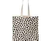 Polka dot screen printed cotton tote bag